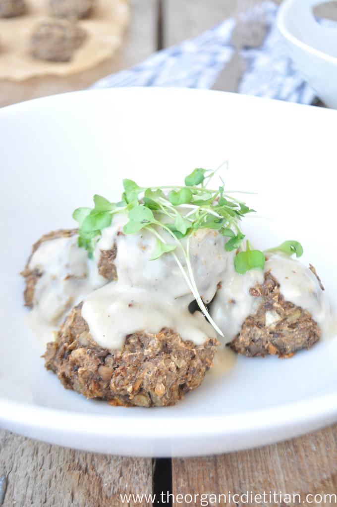 Mushroom Lentil Swedish Meat(less) Balls