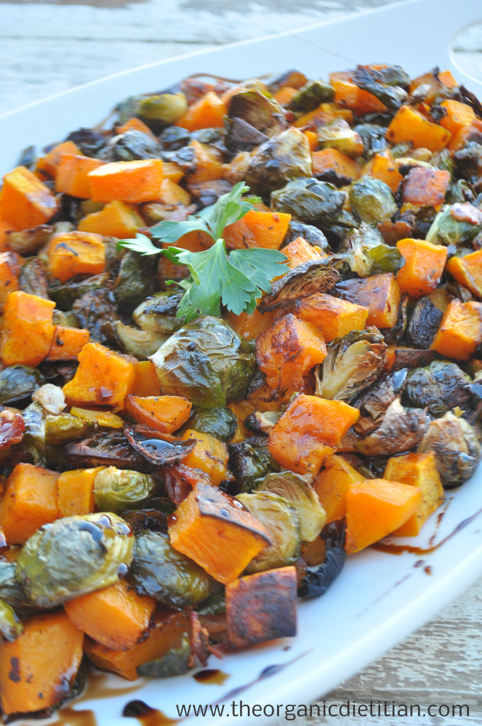 Roasted Brussels Sprouts and Butternut Squash with Balsamic Glaze (bacon optional)