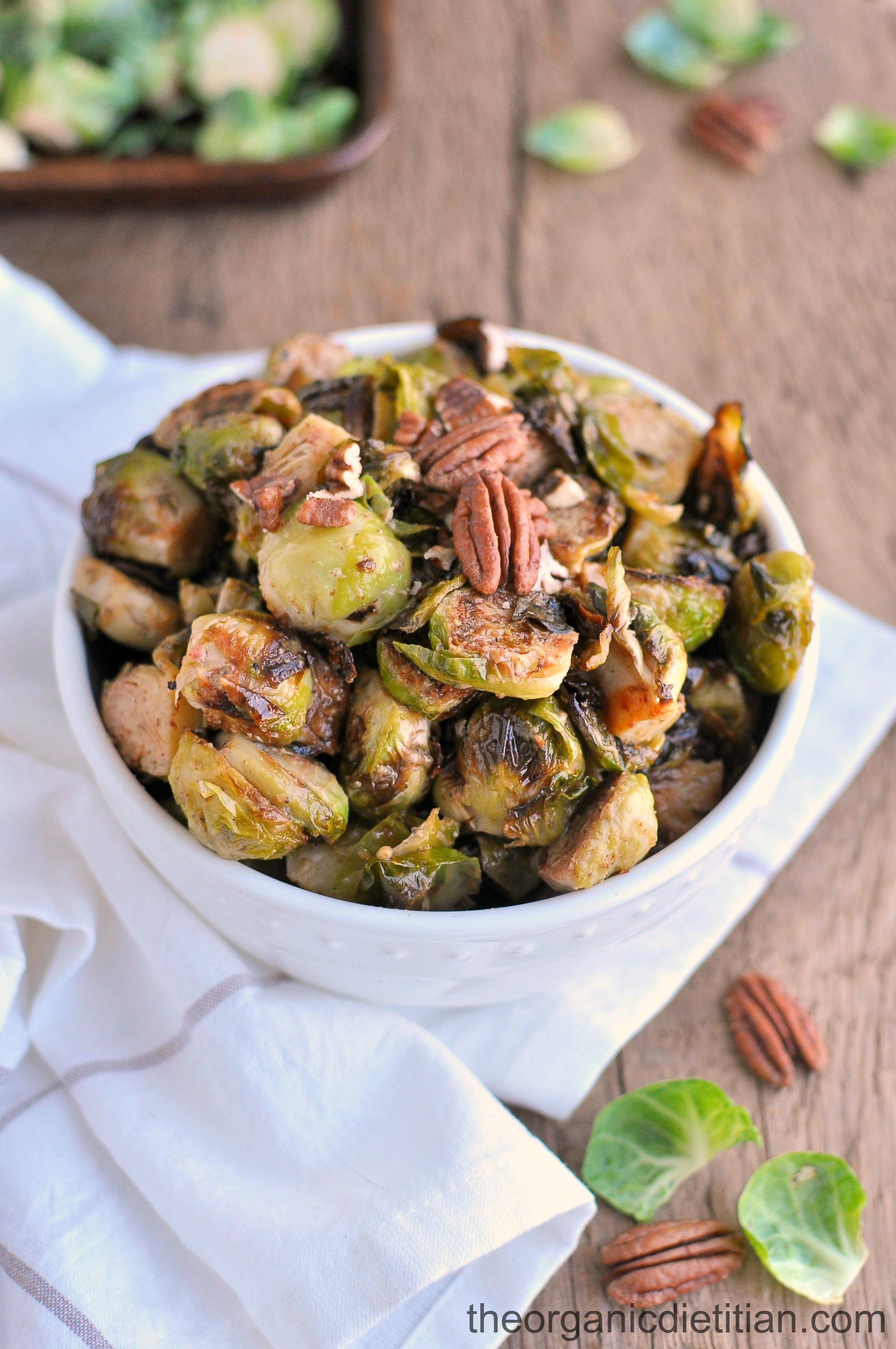 Roasted Brussels Sprouts with Honey Mustard and Pecans