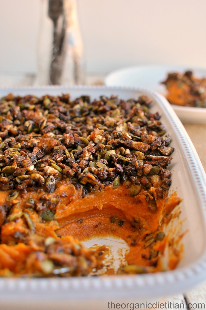 Sweet Potato Casserole with Molasses Candied Nut Topping