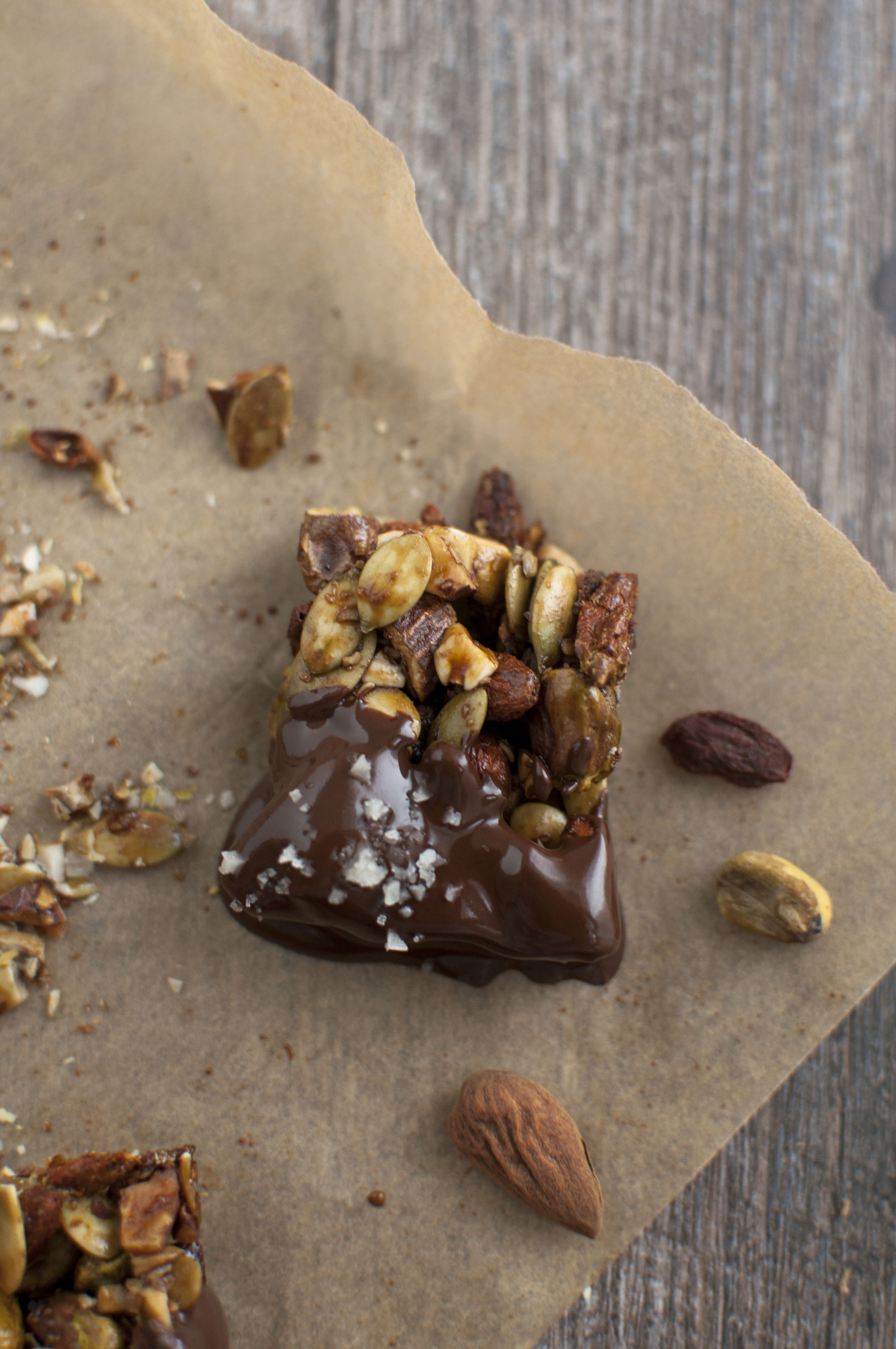 Sweet and Salty Chocolate Nut Clusters - The Organic Dietitian