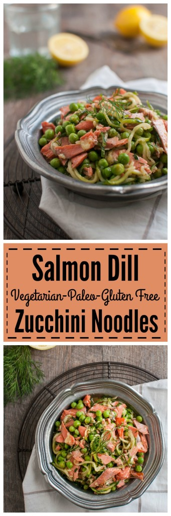 Salmon Dill Zucchini Noodles, 30 minute meal #vegetarian #paleo #glutenfree #whole30 #realfood