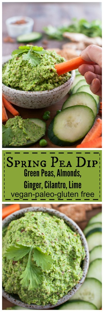 Spring Pea Dip with Amonds, Ginger, Cilantro, and Lime #vegan #glutenfree #paleo #realfood