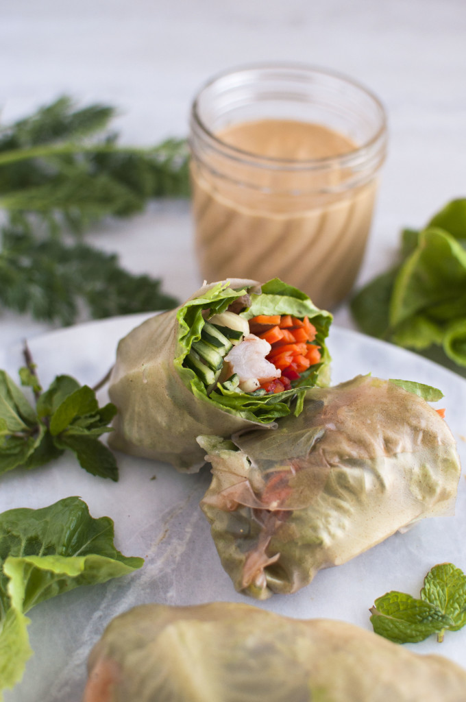 Rice Paper (or Lettuce) Rolls with Peanut Dipping Sauce