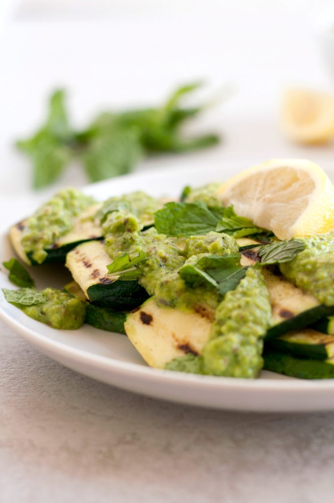 Grilled Zucchini with Pea, Mint, and Ginger Pesto