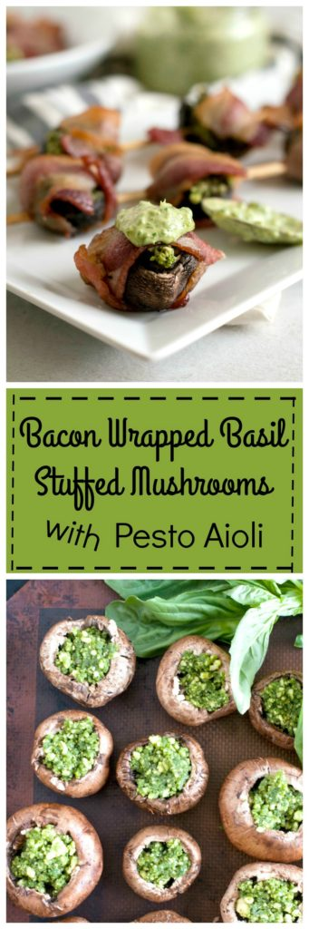 Bacon Wrapped Basil Stuffed Mushrooms - The Organic Dietitian