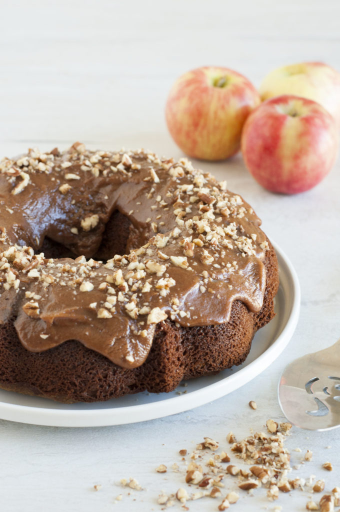 Spiced Apple Bundt Cake with Apple Almond Butter Frosting (Paleo, Gluten Free)