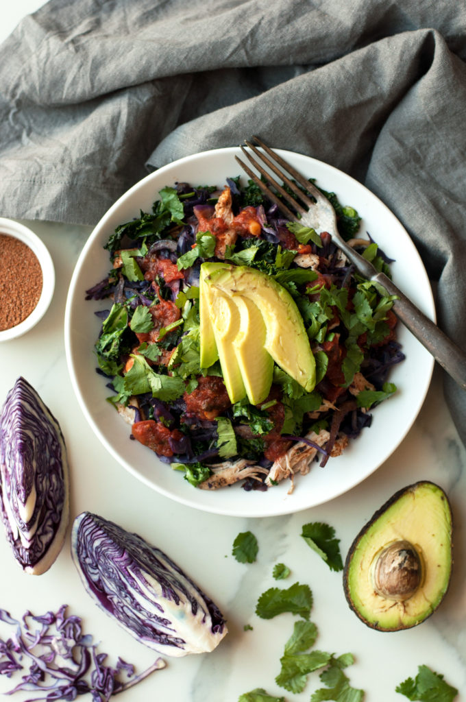 Cabbage and Kale Chicken Taco Bowl